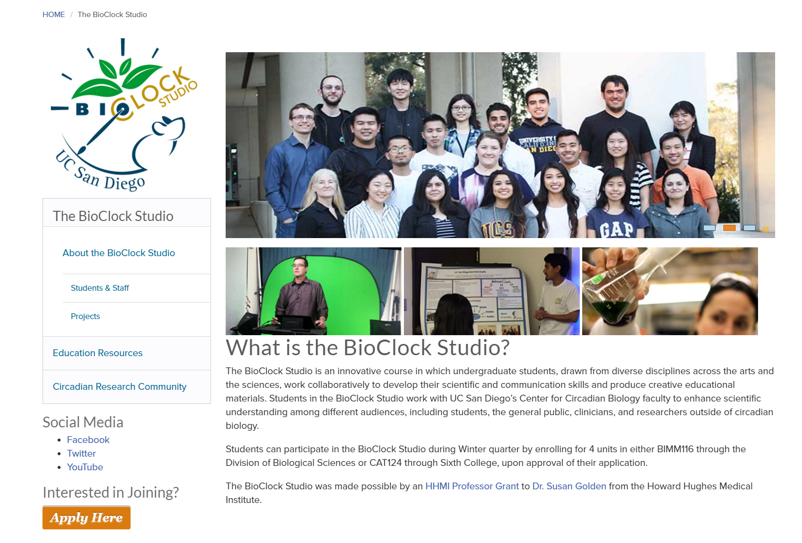 BioClock Studio Website Screen Shot
